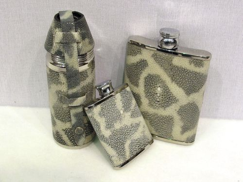 Tiger Shagreen Hipflasks