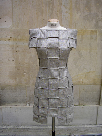 SB028 Metal and Linen Plissé Dress