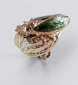 Vern pink silver imperial green moth on nut ring