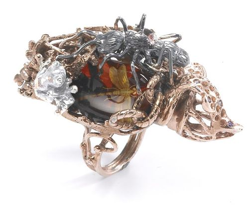 ART 70 pink silver ring with amber insects ans and white enameled frog