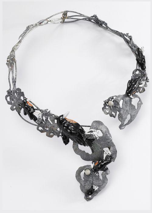 ART 83 dark silver blackbirds necklace with enamel and diams