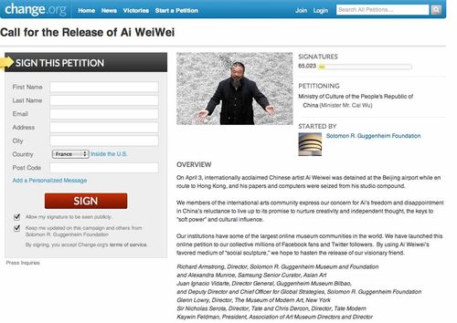 Petition for Ai Weiwei