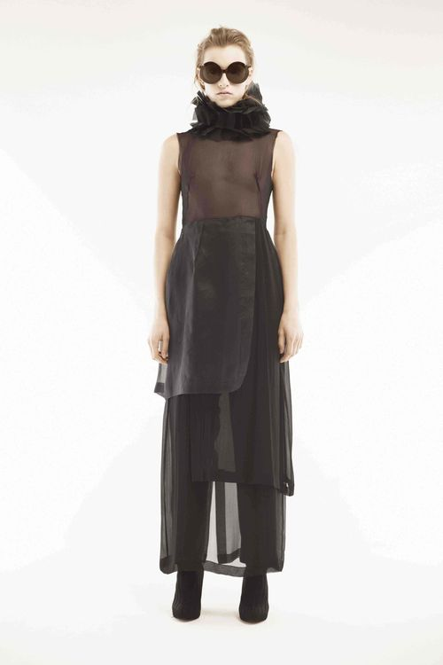Look 13 silk koubis georgetteblack organdy layered gown