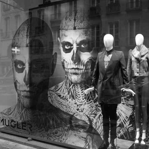 Mugler window at colette by nicola formichetti