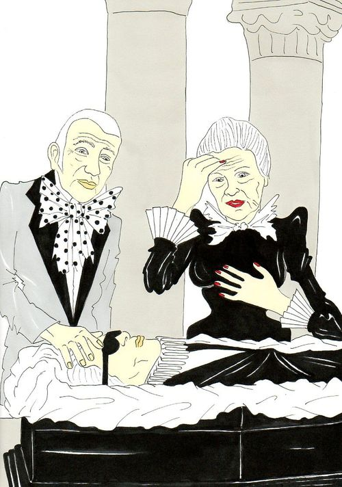 32 Karl Lagerfeld, Vision of a funeral Jean Paul Gaultier and Vivienne Westwood Humor Chic by aleXsandro Palombo