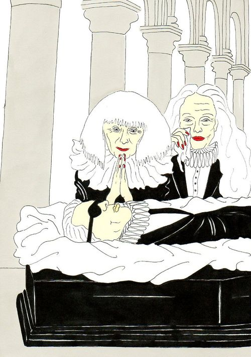 26 Karl Lagerfeld, Vision of a funeral Grace Coddington and Sonia Rykiel Humor Chic by aleXsandro Palombo