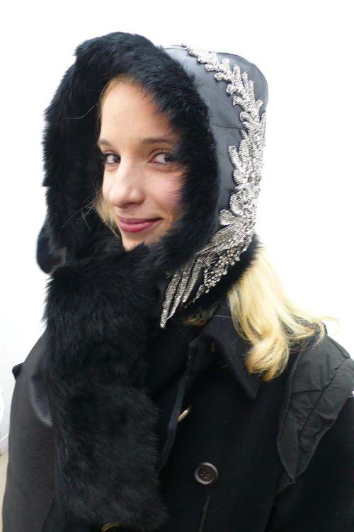 Silvia black fur hat