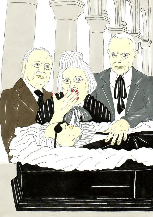 34 Karl Lagerfeld, Vision Pierre Berge Suzy Menkes and Christian Lacroix of a funeral Humor Chic by aleXsandro Palombo