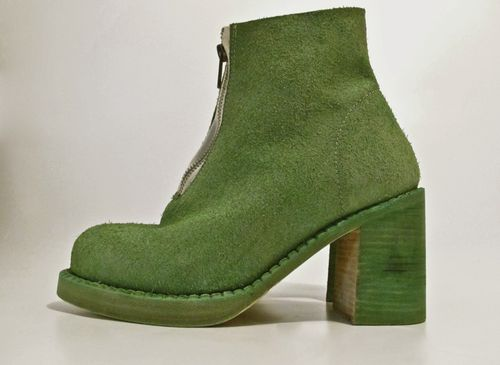 ONE PIECE FADED GREEN   HEEL  BOOT with ZIP UNLINED