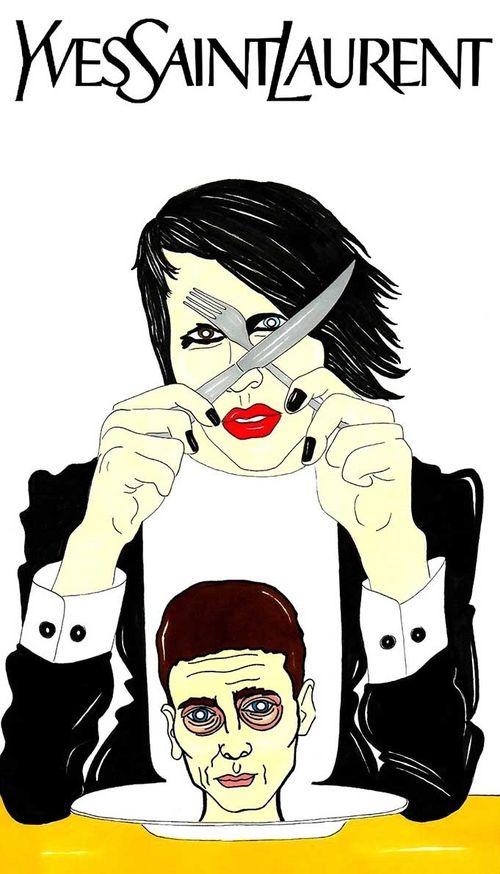 Marilyn Manson and Hedi Slimane for Yves Saint Laurent Paris YSL Campaign Fashion Luxury Art Satire Portrait Critic Humor Chic by aleXsandro Palombo