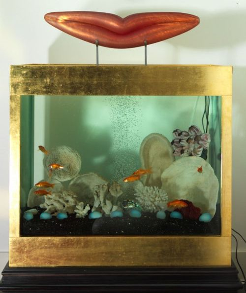 Belmacz 24ct gilt fishtank with vinitien glass hand blown lips