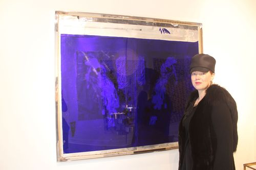 'See Through' exhibition, Julia in front of Rudolf Polanszky