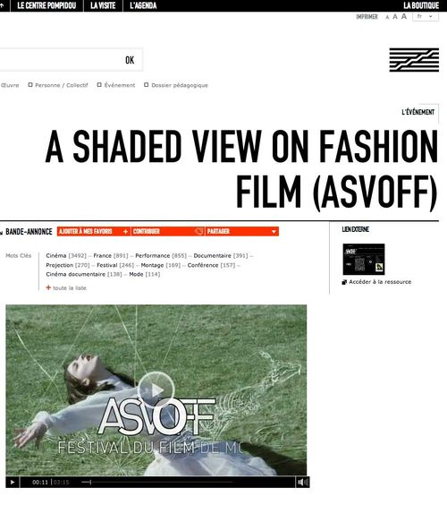 Centre Pompidou Virtuel   A Shaded View on Fashion Film  ASVOFF  copy