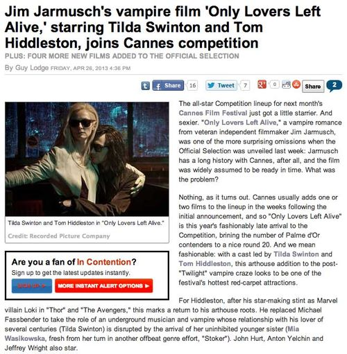 Jim Jarmuschs vampire film Only Lovers Left Alive  starring Tilda Swinton and Tom Hiddleston  joins Cannes competition copy