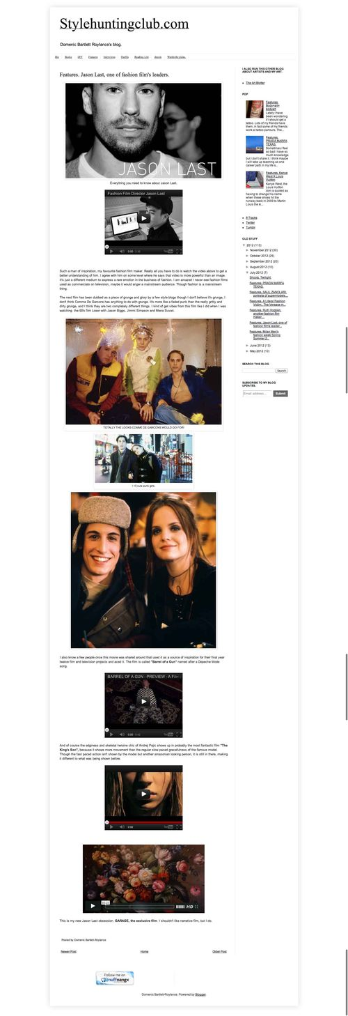 XStylehuntingclub.com  Features. Jason Last  one of fashion film s leaders. copy
