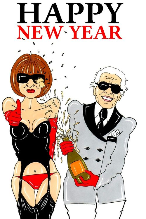 Anna Wintour and Karl Lagerfeld Happy New Year Humor Chic by aleXsandro Palombo