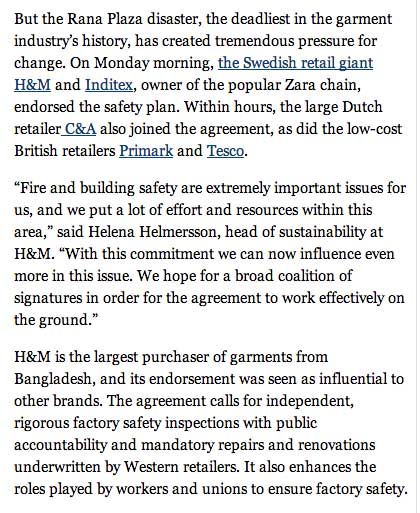 Major Retailers Join Bangladesh Safety Plan   NYTimes copy