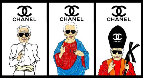 CHANEL POPE KARL LAGERFELD Religion  fashion missionary popes Luxury Art Portrait Satire Society Illustration Epic Logo Cartoon  Humor Chic by aleXsandro Palombo