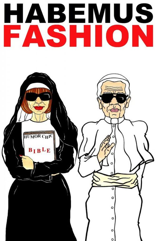 CHANEL POPE KARL LAGERFELD and Vogue Editrix Anna Wintour Religion  fashion missionary popes Luxury Art Portrait Satire Society Illustration Cartoon  Humor Chic by aleXsandro Palombo