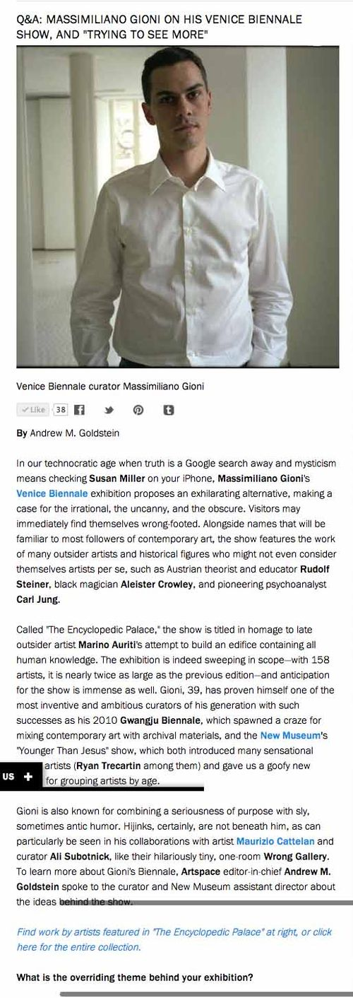 Massimiliano Gioni on His Venice Biennale Show  and  Trying to See More    Art for Sale   Artspace copy