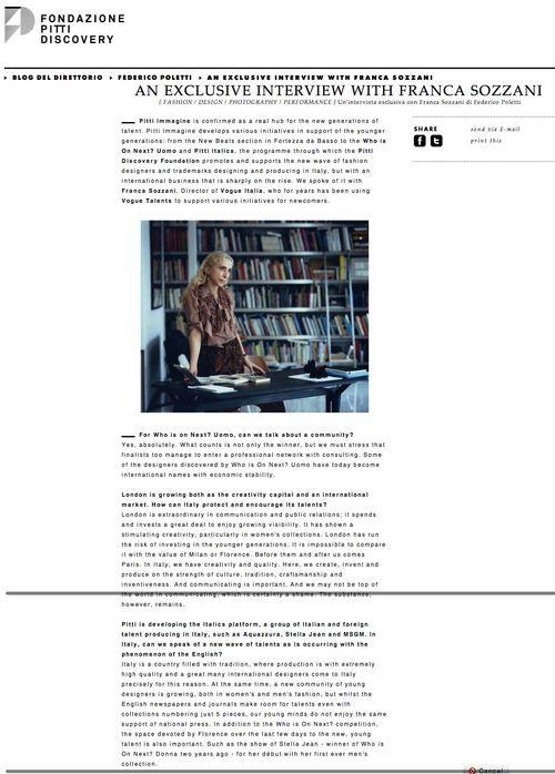 Pitti Fondazione Discovery   An exclusive interview with Franca Sozzani copy