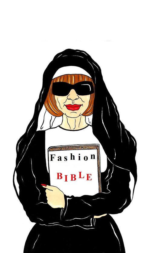 Vogue Editrix Anna Wintour Religion  Bible fashion missionary popes Luxury Art Portrait Satire Cover Society Illustration Cartoon  Humor Chic by aleXsandro Palombo