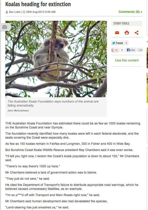 Koalas heading towards extinction