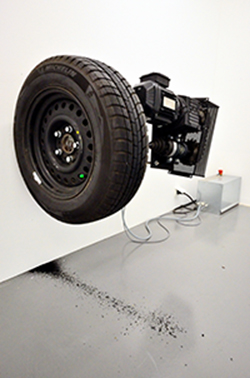 Carbon 12 Dubai - Michael Sailstorfer - Zeit ist keine Autobahn Friedrichshafen - Tyre, iron, electric motor - 95 x 65 x 80cm - unique - 2010 - photo courtesy of Paul Silberberg
